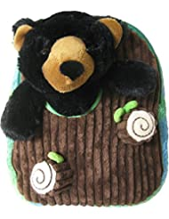 Kreative Kids Adorable Black Bear Plush Backpack with Removable Stuffed Animal