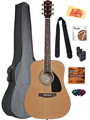 fender-acoustic-guitar-bundle-with-gig-bag-tuner-strings-strap-picks-austin-bazaar-instructional-dvd