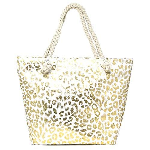 Me Plus Summer Large Beach Tote Bag Zipper Closure Braided Rope Handles Inner Pocket (Metallic Animal Print-Gold) ()