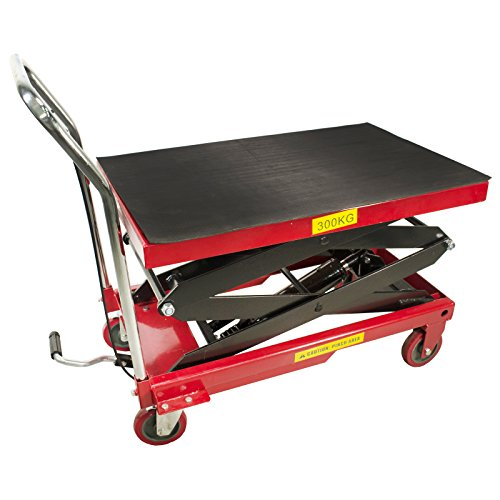 Dragway Tools 770 LB Hydraulic Work Table Lift Movable Push Garage Shop Cart Raises up to 51