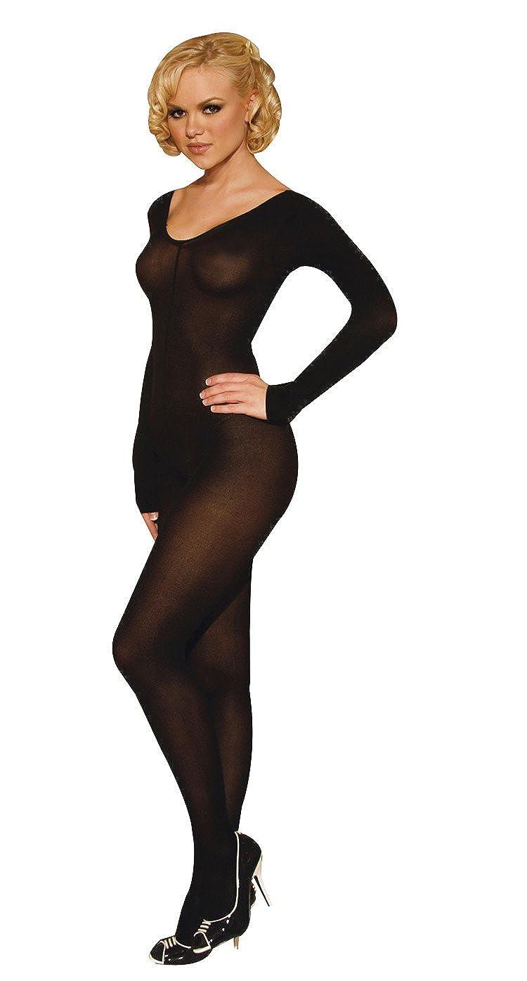 0b2396db55a Elegant Moments Sleeved Opaque Bodystocking One Size and Plus Size. Black   Amazon.co.uk  Clothing