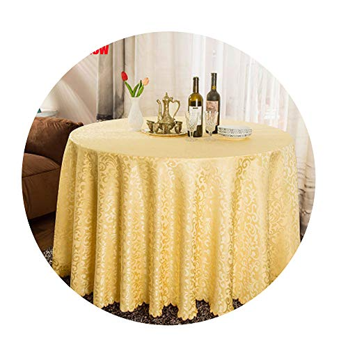 COOCOl Great 1Pc Multi Size White Polyester Hotel Dinner Table Cloth Round Washable Gold Crocheted Floral Tablecloth,Beige Yellow,Square 140X140Cm -