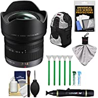 Panasonic Lumix G X Vario 7-14mm f/4.0 ASPH. Zoom Lens with Case + Kit for G6, G7, GF7, GH3, GH4, GM1, GM5, GX7, GX8 Cameras