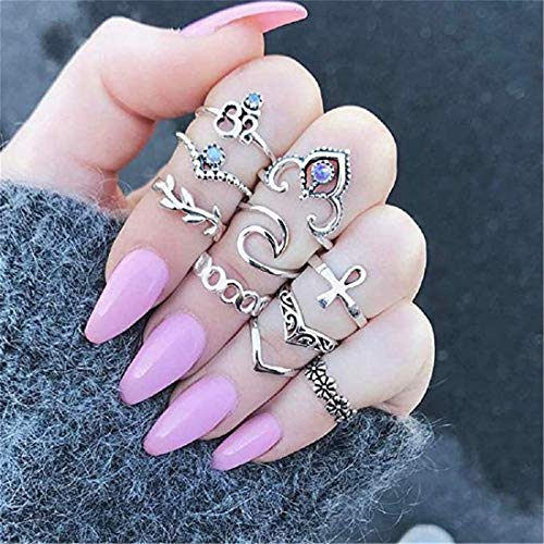 LOSOUL 10 Pcs Vintage Women Mid Ring Set Bohemian Crown Rhinestone Joint Knuckle Nail Midi Ring Set