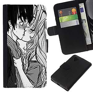 iBinBang / Flip Funda de Cuero Case Cover - Baiser Garçon Fille Surprise Amour Couple Art Dessin - LG Nexus 5 D820 D821