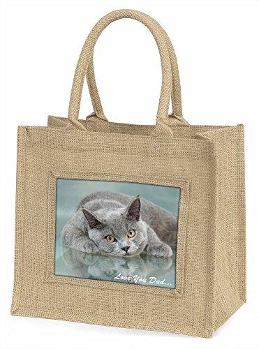 Advanta British blau Katze Love You Dad Große Einkaufstasche/Weihnachten Geschenk, Jute, beige/natur, 42x 34,5x 2cm