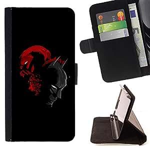 BullDog Case - FOR/Samsung Galaxy S6 / - / Bat & Villain Superhero Duel /- Monedero de cuero de la PU Llevar cubierta de la caja con el ID Credit Card Slots Flip funda de cuer