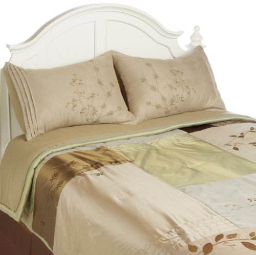 Hudson Suede Bedding - Hudson Street Back to Nature 4-Piece Comforter Set, Queen, Natural