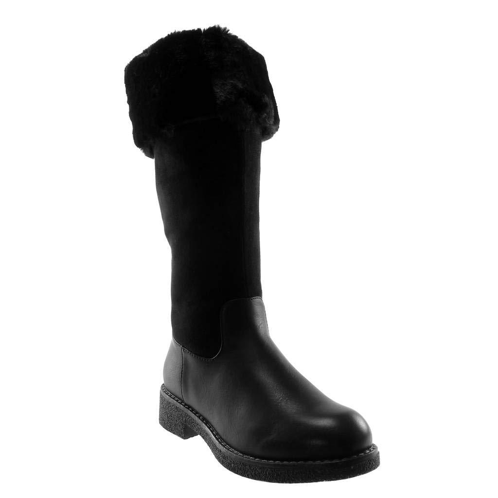 Angkorly - Damen Schuhe Stiefel - Schneestiefel - Reitstiefel Kavalier - bi-Material - Pelz - Reißverschluss - Strass Blockabsatz 3.5 cm
