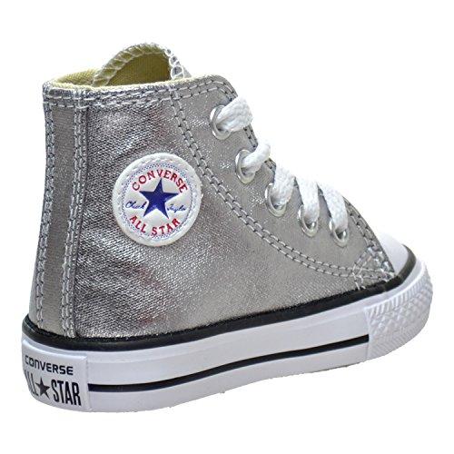 Metallic White Black Hi Unisex Gunmetal Taylor All Star Converse Chuck Trainers Kids wq7P8av