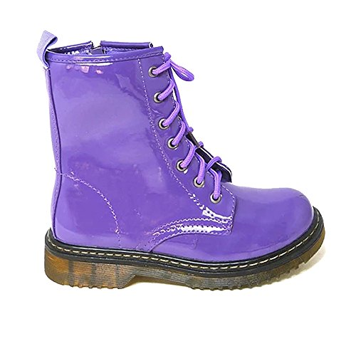 UP Aaishaz dms Purple High Vintage 786 Patent 8 Ankle Womens Combat Punk Ladies Lace Patent Shoes Zip Boots UK qRrIRw