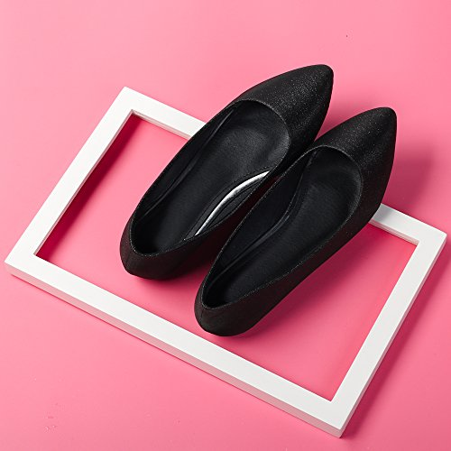 Mujer Ochenta Color Modo Pointed Esmerilado Planos Tamano 45 34 de Negro Individual Ballet del Brillante gd4zdxWn0q