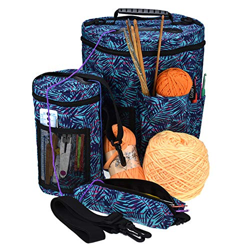 Knitting Bag Yarn Storage Crochet Organizer Set of 3 Project Holder Tote for Exceptional Organization