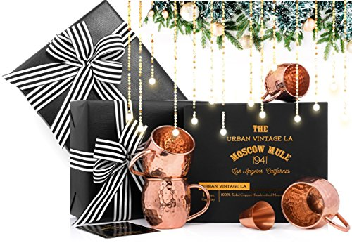 100% Copper Moscow Mule Mugs Gift Set :: Set of 4 Premium Moscow Mule Copper Mugs :: Moscow Mule Mug Set of 4 :: Copper Cups for Moscow Mules, Gift Boxed