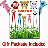 Training Chopstick Utensil Set for Beginners Kids Teens and Adults – Learn How to Use Chopsticks with Cute 5 Pair Reusable Practice Helpers – Simple, Safe, None Toxic Material.Unique CHRISTMAS GIFT