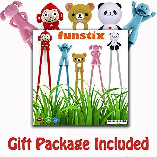 Chopstick Kids (Training Chopstick Utensil Set for Beginners Kids Teens and Adults – Learn How to Use Chopsticks with Cute 5 Pair Reusable Practice Helpers – Simple, Safe, None Toxic Material.Unique CHRISTMAS GIFT)