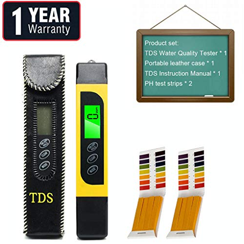 Water Tester Digital Tds Meter, EC Meter, PPM Meter and Temp Meter,2 pcs Ph Test Paper, 0-9990ppm, Portable Water Quality Tester Suitable for Home ATC Drinking Water, Spa, Aquarium