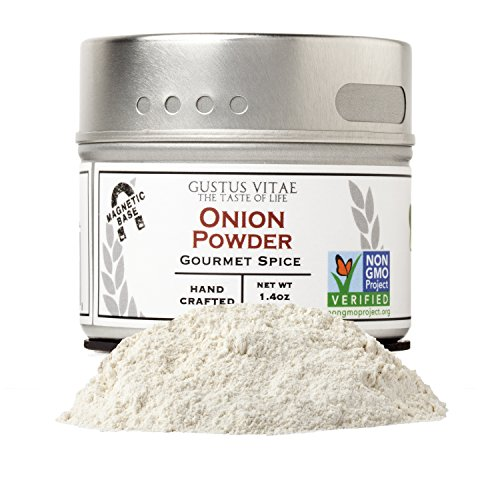 Onion Powder - Non GMO Project Verified - Hand-Packed In Magnetic Tin - Sustainably Sourced - Grown in USA - All Natural - Not Irradiated - Crafted By Gustus Vitae - 1.4 Oz Net Weight - 4 Oz Tin