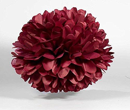 Burgundy Lanterns - Sorive 5pcs Tissue Paper Pom-poms Flower Ball Wedding Party Outdoor Decoration Wedding / Baby Shower / Birthday Party / Nursery Decorations (8 Inch, Burgundy)