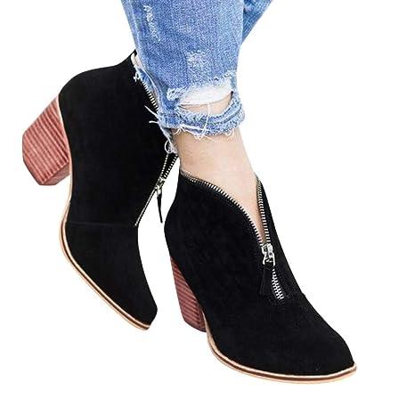 Longra ☂☂❤ ❤ Zapatos de Punta de Cremallera con diseño único ...
