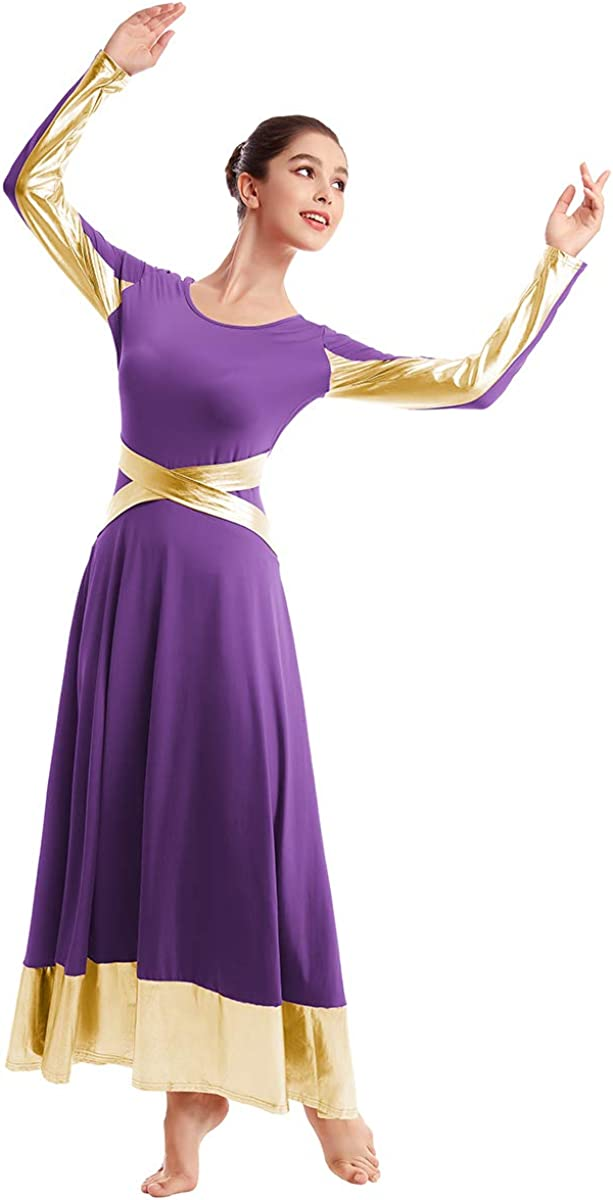 OBEEII Femmes Robes de Danse Liturgique Robe /à Manches Longues Costume de Danse Justaucorps de Gymnastique Ballet Classique Dance Combinaison Bodysuit