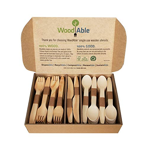 (WoodAble - Disposable Wooden Forks, Spoons, Knives Set | Plastic Cutlery Biodegradable Replacements (200 Count - 80 Forks, 80 Spoons, 40 Knives))