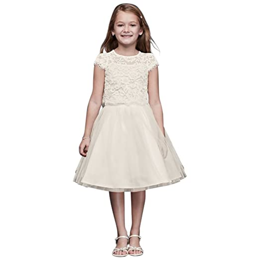 659cc07ac49 Amazon.com  Lace and Tulle Two-Piece Flower Girl Communion Dress ...