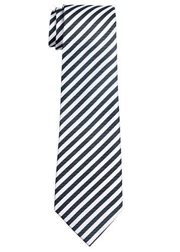 Retreez Striped Woven Microfiber Boy's Tie (8-10 years) - Black and White Stripe