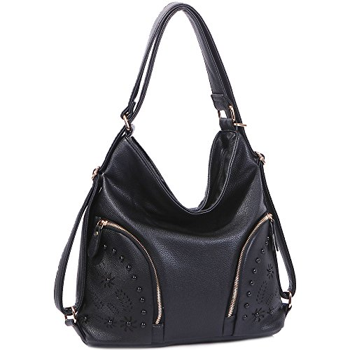 iYaffa Women's Handbag Hobo bags Shoulder Purse Backpack PU Leather 3 Ways Tote Satchel Soft Lightweight Medium Size - Handbag Hobo Medium Leather