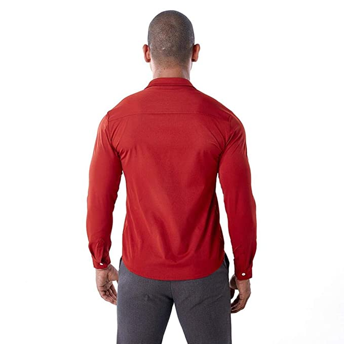 Camisas Hombre Moda ❤️AIMEE7 Camisa Roja Hombre Camisa Hueca De Hombre 002514ee3d7