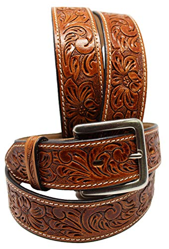 CHALLENGER 51-52 Men's Cowboy Western Rodeo Fashion Tooled Floral Genuine Tan Leather Belt 2653RS