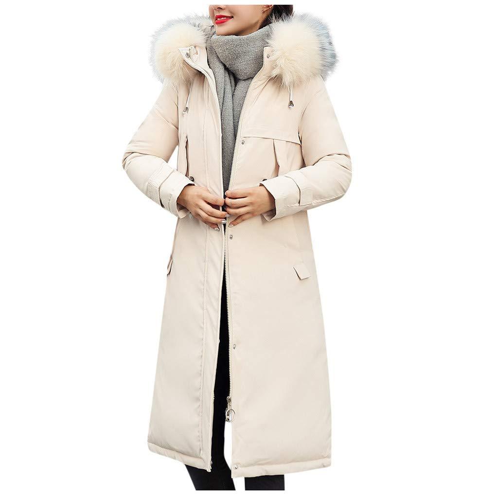 Allywit- Women Faux Suede Long Jacket Button Coat Long Solid Warm Jackets Windbreaker Coats with Big Pocket White by Allywit- Women