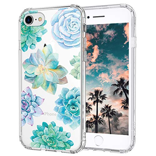 MOSNOVO iPhone 7 Case, iPhone 8 Clear Case, Tropical Succulents Clear Design Transparent Printed Plastic Hard Case with TPU Bumper Protective Case Cover for Apple iPhone 7 (2016) / iPhone 8 (2017)