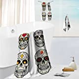 SCOCICI1588 Fast Drying Extra Large Bath Towel SetSkull and Blossoms Butterflies Christian Religious Celebrati Vacati for Spa &Hotel Quality 19.7''x19.7''-13.8''x27.6''-31.5''x63''