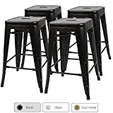 "Furmax 24"" metal stools High Backless Metal Indoor-Outdoor Counter Height stackable bar Stools (Set of 4 Black) For Sale"