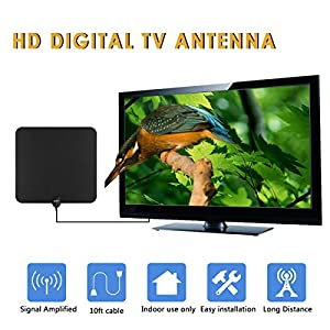 GJT Amplified Antenna HDTV Digital TV Antenna 50 Miles Range Indoor High Reception with Detachable Signal Booster for Free Channel,10ft High Performance Coax Cable with Adapter