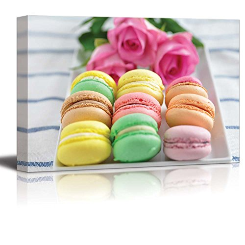 Colorful Macarons with Flowers Wall Decor