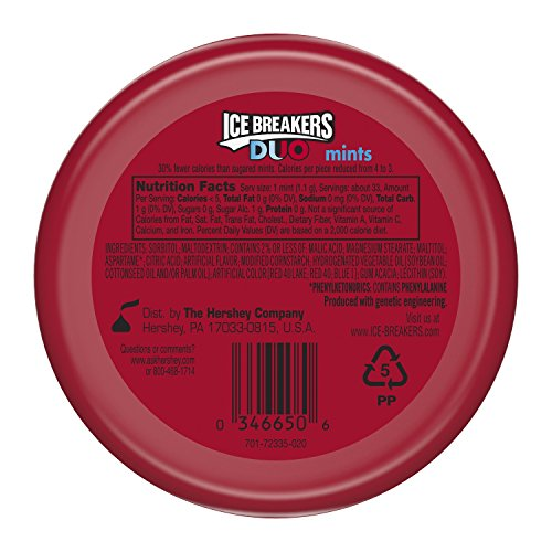 034000006656 - ICE BREAKERS DUO Fruit + Cool Mints, Strawberry Flavor, Sugar Free, 1.3 Ounce Container (Count of 8) carousel main 1
