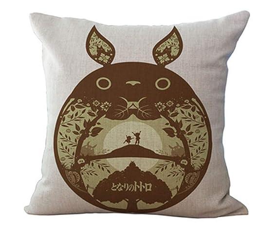 Hunterace Funda de cojín Algodón Lino Dibujos animados Anime Totoro Funda de almohada Sofá cama Decoración