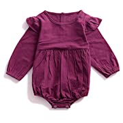YOHA Baby Girls Autumn Spring Ruffle Long Sleeve Toddler Romper Jumpsuit Outfit Purple,70