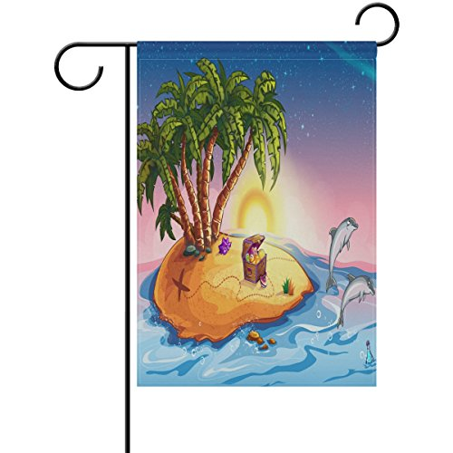 ALAZA Hello Summer Double Sides Garden Yard Flag, Coconut Tr