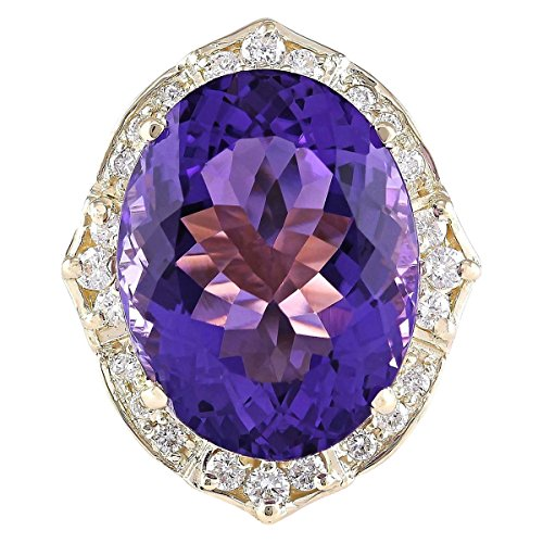 19 Carat Natural Violet Amethyst and Diamond (F-G Color, VS1-VS2 Clarity) 14K Yellow Gold Cocktail Ring for Women Exclusively Handcrafted in USA ()