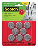 Scotch Heavy Duty Felt Pads, Round, Gray, 1-Inch Diameter, 8 Pads/Pack, 6-Packs (48 Total)