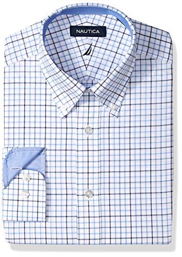 - Nautica Men's Classic Fit Button Down Collar Dress Shirt, Blue/Multi Tattersall, 17 34/35