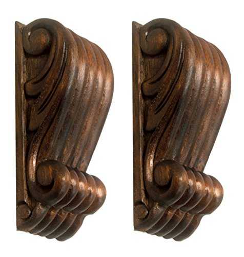 NDC Small Hand Carved Wood Corbel Onlay Pair 4-3/4 x 2 inches