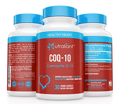CoQ10 Ubiquinone 200 MG Per Serving Supplement - High Absorption Coenzyme Q10 - Best Support for Heart & Immune Health, Energy Production & Stamina - All Natural, Non-GMO - 30 Vegetarian Capsules ()