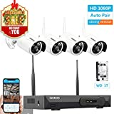 Cheap [Newest Strong Version WiFi] Wireless Security Camera System, ISOTECT 8CH Full HD 1080P Video Security System, 4pcs Outdoor/Indoor IP Security Cameras, 65ft Night Vision and Easy Remote View, 1TB HDD