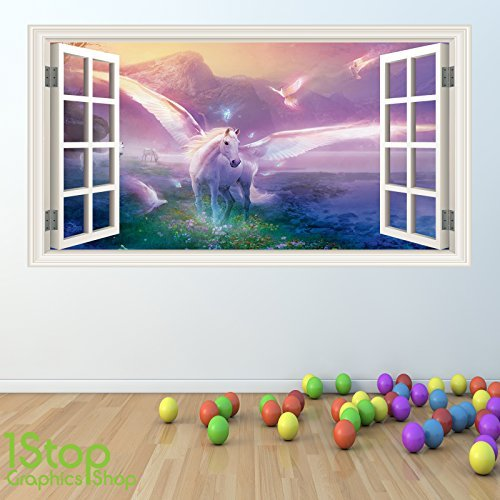 1Stop Graphics Shop UNICORN WALL STICKER FULL COLOUR   GIRLS BOYS FAIRYTALE  BEDROOM W44 Size: Large: Amazon.co.uk: DIY U0026 Tools