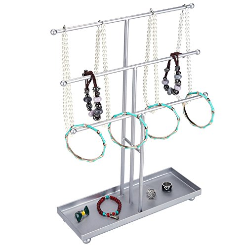 3 Tier Modern Metal T-Bar Jewelry Display Organizer Stand with Ring Tray, Silver (Metal Gumdrop Tree)