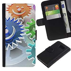 All Phone Most Case / Oferta Especial Cáscara Funda de cuero Monedero Cubierta de proteccion Caso / Wallet Case for Samsung Galaxy S6 // Abstract Smiley